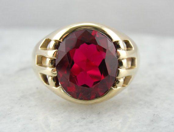 Amazing Synthetic Ruby Solid 10k Yellow Gold  Men Valentine & Engagement Ring #uniquegemstone17 #Band