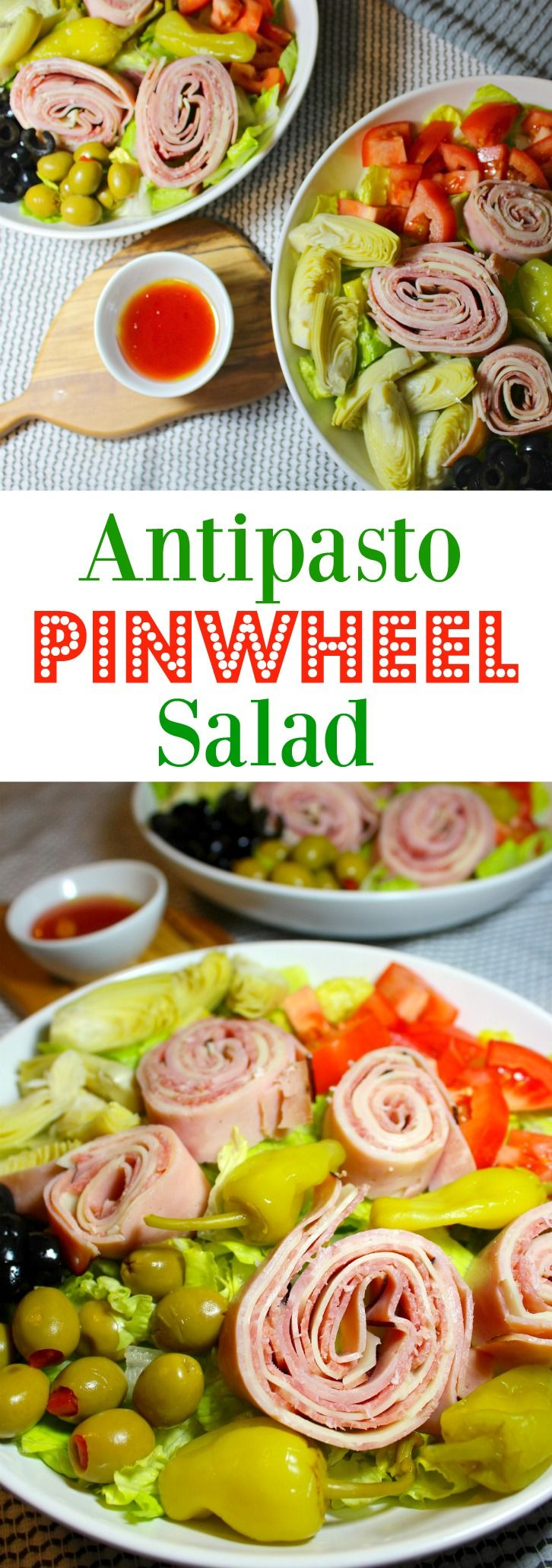 An healthy, easy, low carb Antipasto Pinwheel Salad with simple red wine vinegar and olive oil dressing for a fast no-cook meal, that is ready in minutes!