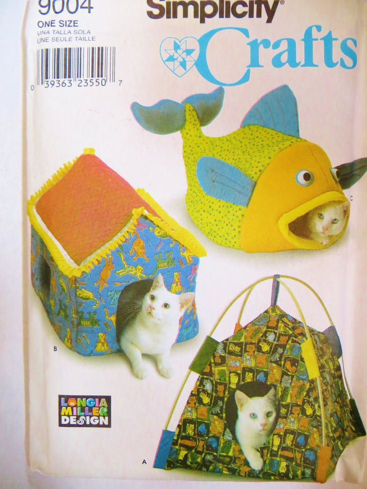 Cat Bed Pattern, Simplicity 9004, Humorous Cat Houses, Novelty Cat Beds, Fish Cat Bed, Cat Tent, Pet Accessories, uncut by CatBazaar on Etsy