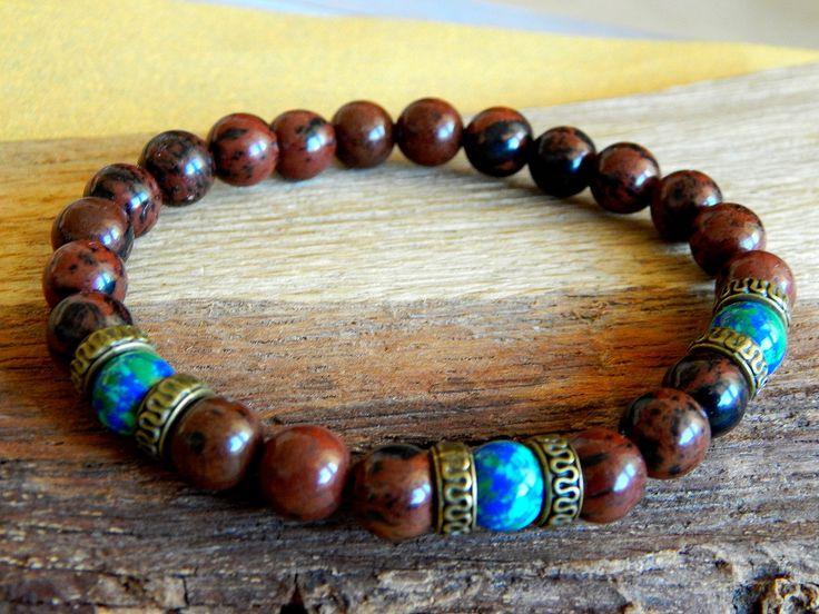Bracelet homme pierres d'obsidienne acajou et jaspe carte : Bijoux pour hommes par caromoon