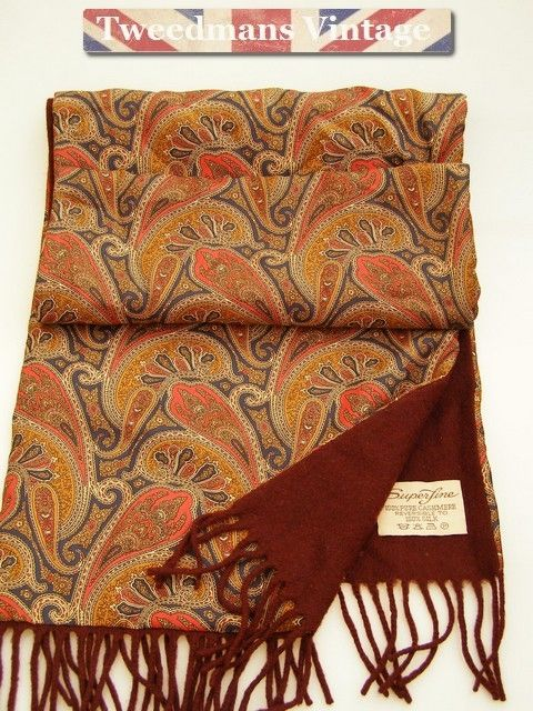 Paisley mens scarf silk cashmere