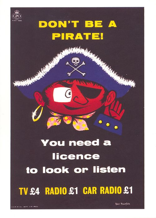 £1 - free delivery with code PINPOSTER   Don't Be A Pirate! by Robert Broomfield (1959). Robert Broomfield produced a number of posters in the late 1950s including this one, which refers to the granting of transmission and radio licenses.