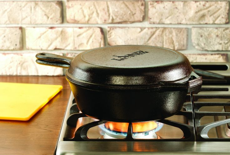 Lodge 2.84 litre / 3 quart Pre-Seasoned Cast Iron Combo Cooker: Amazon.co.uk: Kitchen & Home