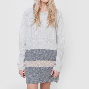 Beaumont Organic Petra Merino Wool Jumper Dress: This luxurious merino wool knit features a multi colour block pattern in soft tones of grey. Designed by UK premium ethical fashion label Beaumont Organic, Petra can be worn as a slouchy dress with boots or an oversize jumper for chilling at the weekend.