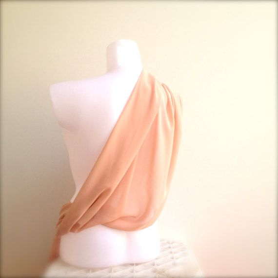 A Lovely Christmas Gift For Her !   Soft and Sheer Apricot Blush Chiffon Shawl   Light Long Peach Blush Nude Scarf, Shoulder Stole or Wrap  Perfect for any Occasion, Especi...