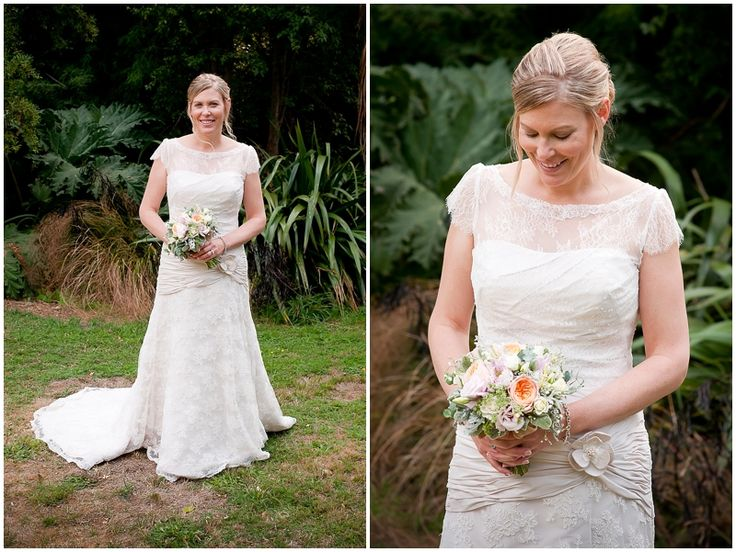 Gorgeous bridal bouquet of peach, silver and pinks. Flowers by One Poppy Wedding Flowers Auckland. Venue Mount Vernon Lodge, Akaroa, New Zealand. Photography by Stephanie @ Handmade Photography.
