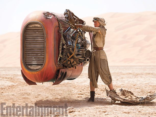 "Rey's Speeder: ""It's a beat up tractor that's a hand-me-down or scavenged item,"" says production designer Darren Gilford. ""It was meant to look like a piece of farm equipment, something that's not going real fast compared to what a sports car would do. But it has high-end torque like a tractor that needs to haul a trailer."""