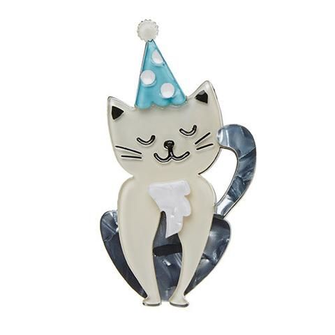 "Erstwilder Limited Edition Party Animal Brooch. ""People call him the cat in the (party) hat. And as you can see he is quite satisfied with a moniker like that. """