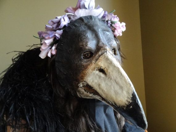 Paper mache bird mask , bird costume, Plague Doctor mask  You are welcome to visit my other mask shop also https://www.etsy.com/shop/GreenMindedWolf