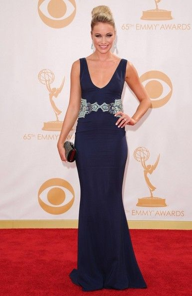 Katrina Bowden wears a Badgley Mischka gown to the 65th Annual Primetime Emmy Awards.