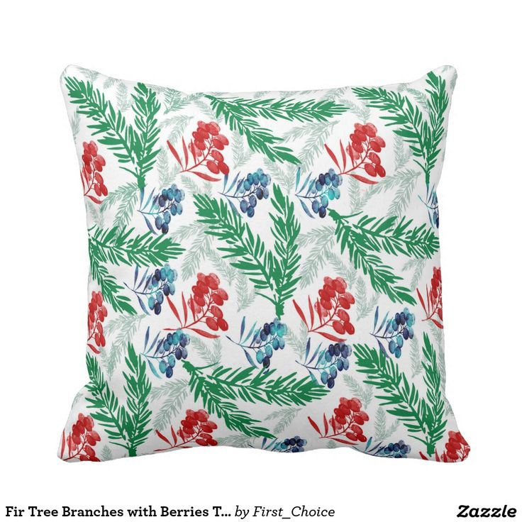 Fir Tree Branches with Berries Throw Pillow