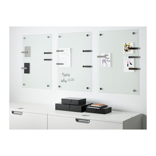 KLUDD Noticeboard  - IKEA Glass whiteboard comes with 4 paper clips