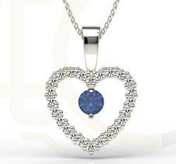Wisiorek z białego złota z szafirem i cyrkoniami / Pendant made fro  white gold with sapphires and zircons / 1 019 PLN / #jewellery #bizuteria #pendant #wisiorek #sapphires #zircons #gold #heart