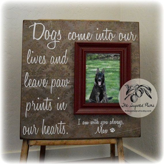 Dog Picture Frame Gift, Memorial, sympathy gift, loss of a pet, In memory of, Inspirational quote, 16x16 The Sugared Plums  Thank you so much for