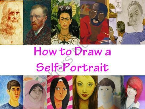 How to Draw a Self-Portrait from The Art Teacher on TeachersNotebook.com (140 pages)  - This 140 slide Power-point presentation covers all aspects of how to successfully draw a self-portrait.  This presentation was made for use at the high school and middle school levels, but can certainly be used in upper elementary and even the University