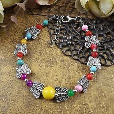 Silver Adjust Gift Beaded Chain Turquoise Bangle Jewelry Butterfly Bracelet