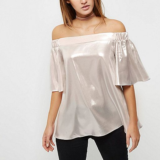 Metallic pink Bardot top ||| RIVER ISLAND.COM |||