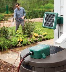 Solar Powered Rain Barrel Water Pump