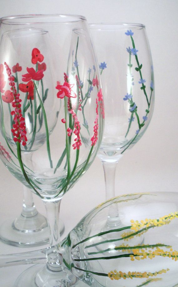 Wild flowers hand painted wine glasses set of 4 made to Images of painted wine glasses
