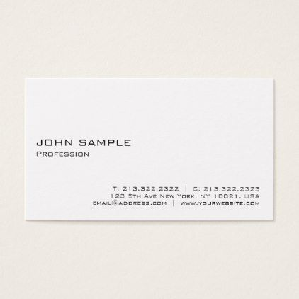 Minimalistic Modern Elegant White Professional Business Card - fitness businesscards personal trainer instructor business cards card