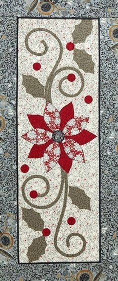 = free pattern = Pop of Poinsettia table runner at All People Quilt