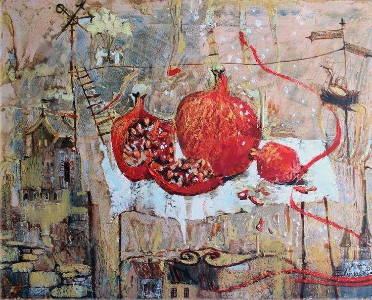 """Гранаты"" 50х60 х.энкаустика Все вопросы Viber #oilpainting#canvasart#encausticart# artpaintinq#artcompozishin#"