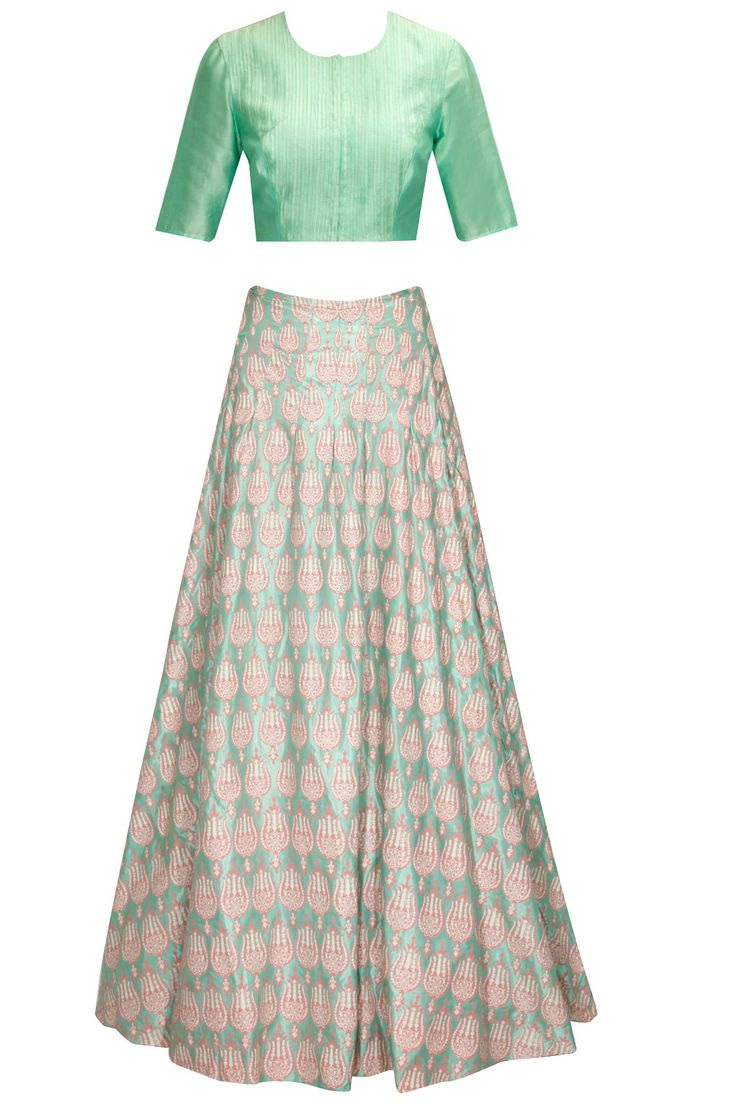 Mint and coral pink printed lehenga set available only at Pernia's Pop-Up Shop