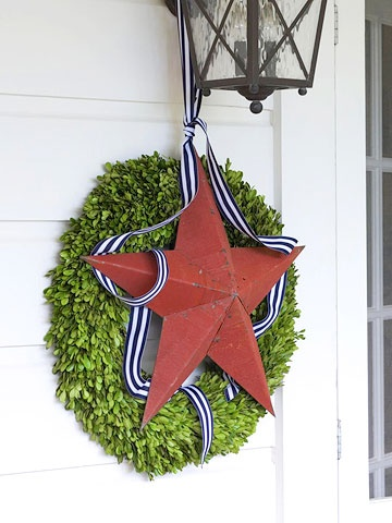 love this for 4th of july: Lights Fixtures, Home Decor Ideas, Fourth Of July, Front Doors, 4Th Of July, July 4Th, Blue Home, Memories Day, Flowerpot