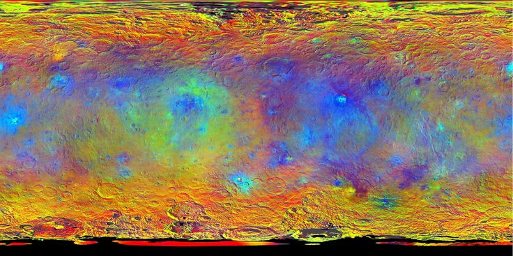 NASA's Dawn spacecraft obtained images for this map-projected view of Ceres during its high-altitude mapping orbit, in August and September 2015.<br />