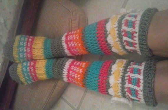 "PDF Pattern Instant Download Crochet ""Free Spirit Knee High Slipper Socks"" Pattern"
