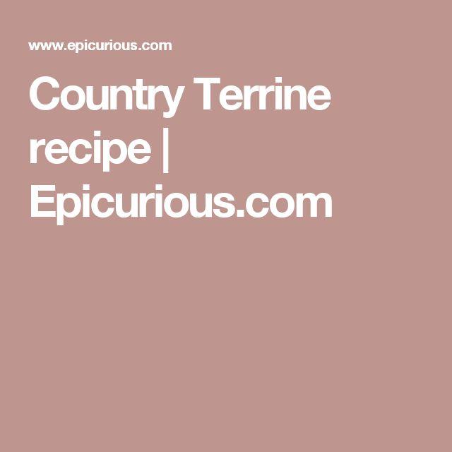 Country Terrine recipe   Epicurious.com