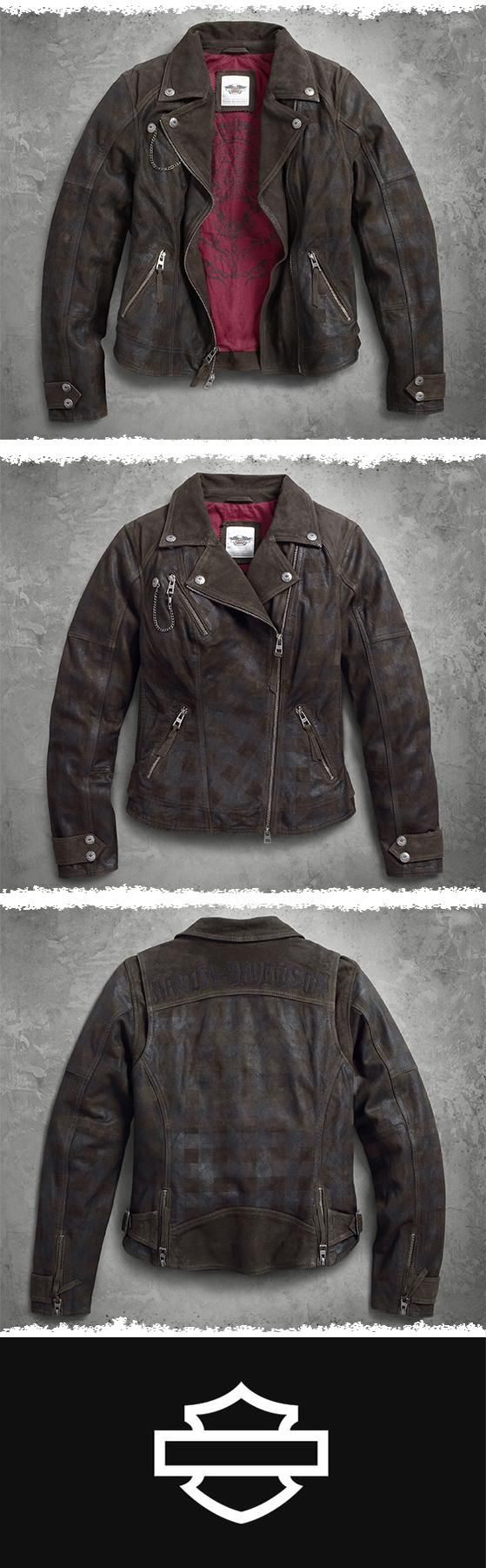 Think outside the lines.   Harley-Davidson Women's Haunt Plaid Leather Biker Jacket