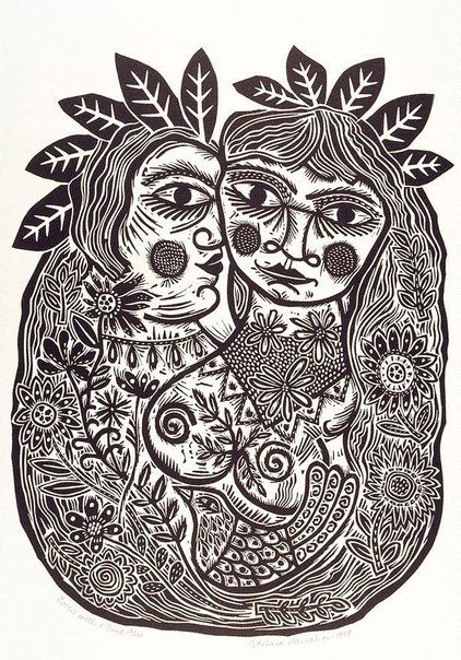 'Lovers with a bird' : from the portfolio Twelve linocuts, a suite of prints : 1990 : Print : linocut : black ink on ivory Velin Arches paper