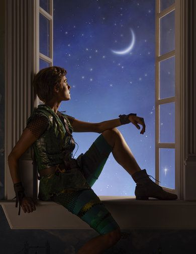 Disney's Peter Pan Live! Sitting at the window looking at the moon and the stars