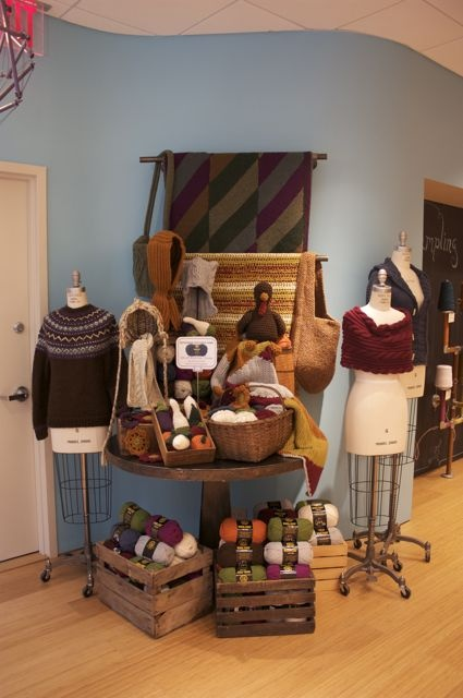 yarn display for @Allison Bennett- Great use of multiple levels to make the display area look full.
