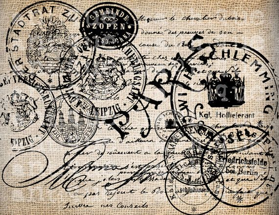 Antique Paris French and German Postmarks Handwriting Digital Download for Papercrafts, Transfer, Pillows, etc Burlap No 2869