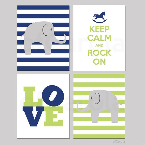 BABY PRINTS PERSONALIZED Children Wall Art - Kids Nursery Elephant Prints, Choose Colors - Blue Green Grey White Colors - 8x10 inch on Etsy, $50.00