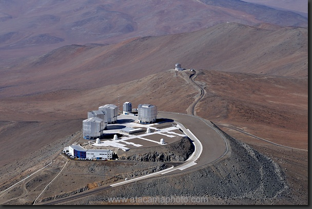 Paranal Observatory in its remote location in the middle of the Atacama Desert, VISTA telescope is in the background