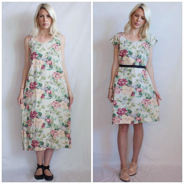 ⠀⠀Ladygirl Vintage: Floral Linen Dress Makeover