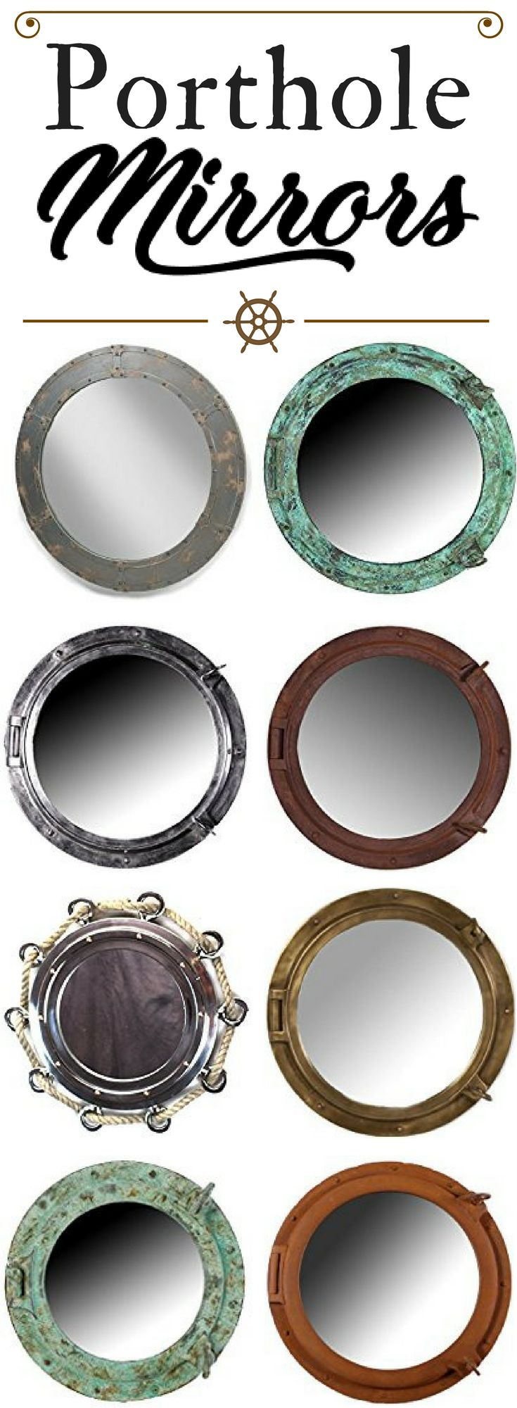 Porthole Mirrors! Check out the absolute best nautical porthole mirrors for sale at Beachfront Decor. Whether you need vintage, rustic, modern, brass, or rope porthole mirrors for your bathroom or living room, we have you covered.