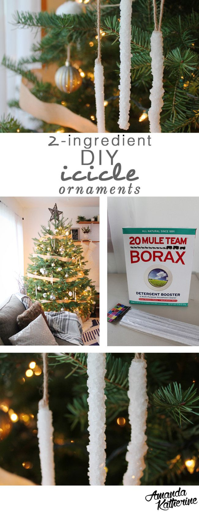 I love this SUPER simple tutorial for Borax crystal icicle ornaments! It uses just 2 ingredients, has few steps, and they aren't fragile at all. The best part - it's WAY cheaper than store-bought and they're a fun experiment to try with the kids! |http://www.amandakatherine.com/diy-icicle-ornaments/