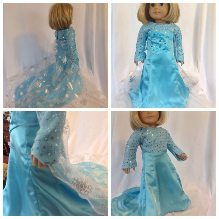 "Elsa Frozen dress to fit American Girl or other 18"" dolls.  Available in my Etsy shop.  https://www.etsy.com/ca/shop/JayCeeBoutique"