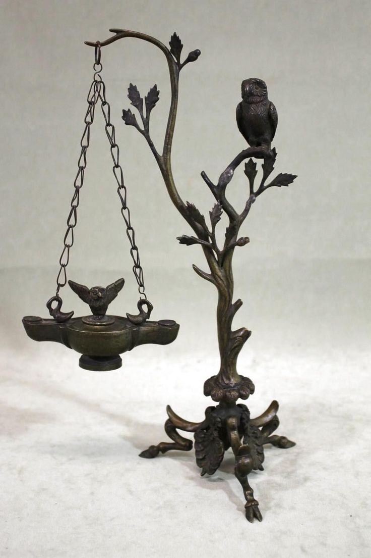 Vintage owl lamps - Antique 19thc Grand Tour Bronze Owls Hanging Oil Lamp With Swans