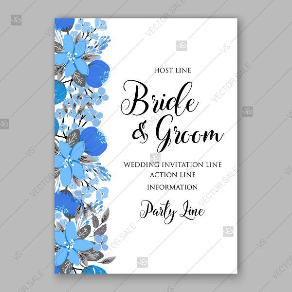 Blue Floral Vector Background Wedding Invitation Card