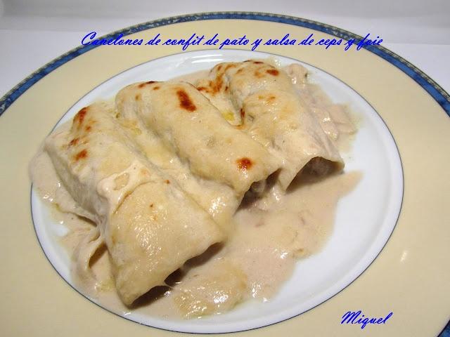 Canelones de confit de pato con salsa de ceps y foie