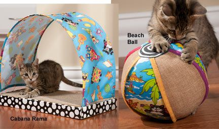 Fat Cat Kitty Kahuna Toys - These fun, colorful, island-themed toys send your cat on a permanent vacation from boredom. They offer beach-style fun for indoor cats.