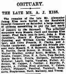 Alexander James Kiss Obituary, from The Sydney Morning Herald (NSW : 1842 - 1954), Tuesday 19 September 1922, page 7