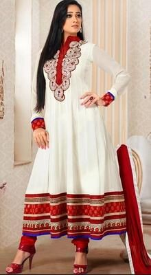 Ethnic Shweta Tiwari Georgette Anarkali Suit  An instant mood brightener, just as Shweta Tiwari this ethnic off white faux georgette Anarkali suit would be a perfect choice for any occasion. The classy embroidered paisley motifs enhanced neck patch and bold hemline makes it an absolute awe-inspiring piece. #FloorTouchingAnarkalis #BollywoodAnarkaliSuits