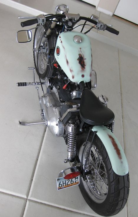 Photo of the Distressed Bobber - 1978 Ironhead Sportster Motorcycle by Justin of DP Customs.