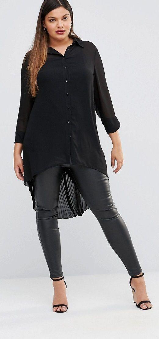 Plus Size Longline Sheer Lace Shirt